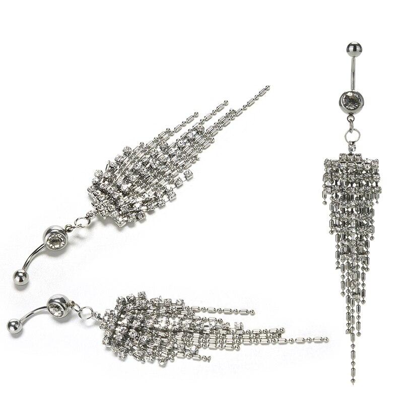 HTB1MQSiOVXXXXXRXXXXq6xXFXXXU Womens Body Piercing Jewelry Navel Ring With Luxurious Crystal Chain Tassels