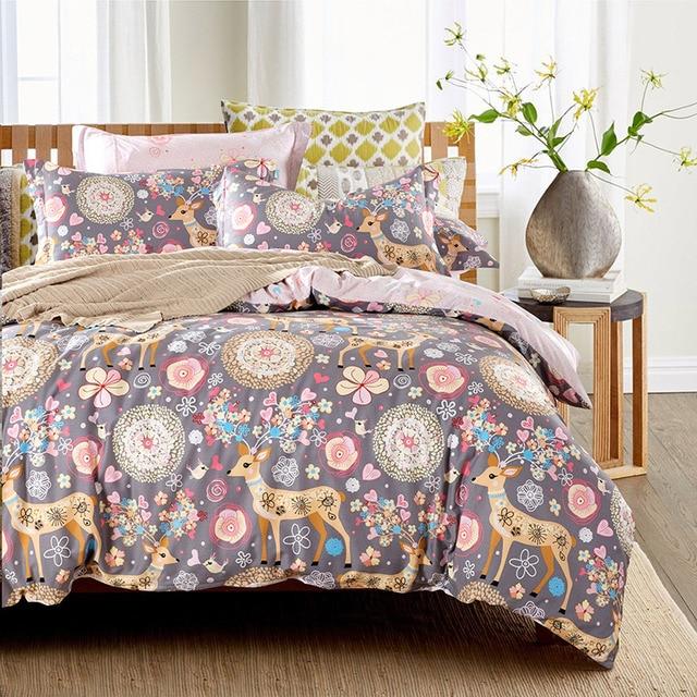 Geometric Adult Cartoon Deer Owl Cow Print Bedding Set Queen U0026 King Size Bed  Sheets Duvet