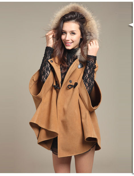 Womens Cape Cloak Poncho Fur Collar Hooded Wool Coat female Outerwear maternity trench coat womens coats winter 2016   213 hot sale open front geometry pattern batwing winter loose cloak coat poncho cape for women