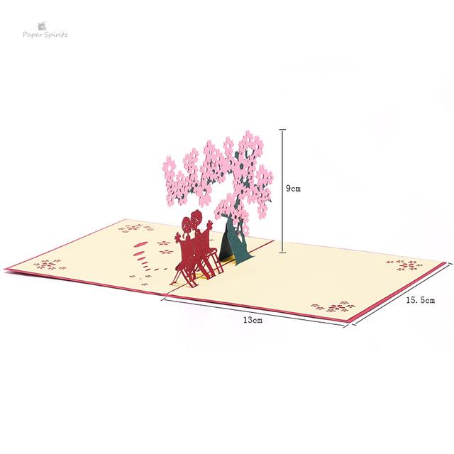 PAPER SPIRITZ Wedding Invitation Customized 3D Laser Flower Lover Pop up Greeting Cards Postcards Birthday Valentine's Day Gifts
