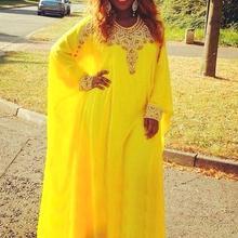 Muslim Evening Dresses Long Sleeves Formal Women Arabic Style Dubai Kaftan Dress 2019 New Fancy  Yellow Chiffon Robe De Soiree