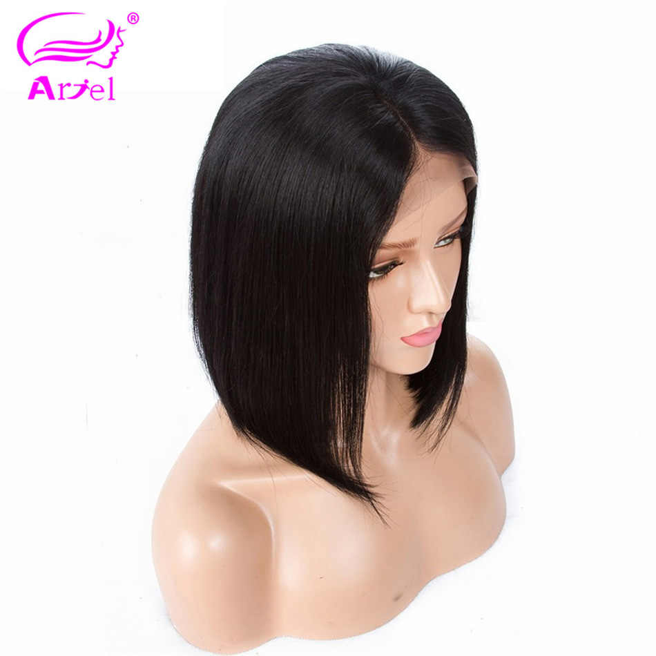 ARIEL Peruvian Straight 13*4 Lace Front Human Hair Wigs Short Bob Wig Remy Hair BoB Wigs For Black Women With Bleached Knots