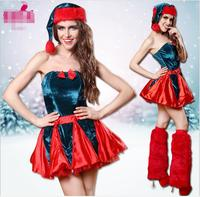 Women Sexy Christmas Festival Cosplay Costumes Female Pure Red Halloween Uniform Role Playing For Adult Santa