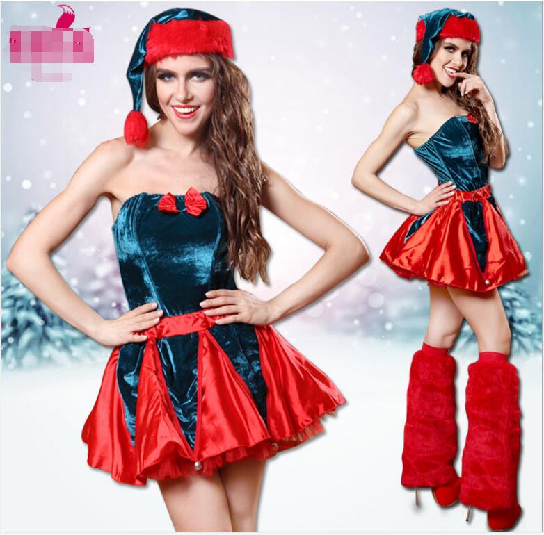 Women Sexy Christmas Festival Cosplay Costumes Female Pure Red Halloween Uniform Role Playing for Adult Santa Clause