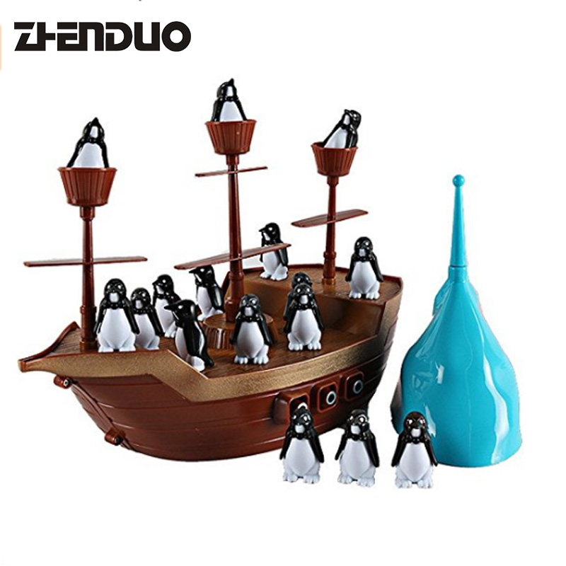 ZhenDuo Creative Desktop Interative Fun Boat Game Penguin Pirate Boat Banlance Game Puzzle Toys Kids Gift
