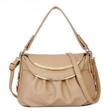 Simple Genuine Leather Women's Shoulder Handbag With Two Shoulder Strap By Using Cow Leather