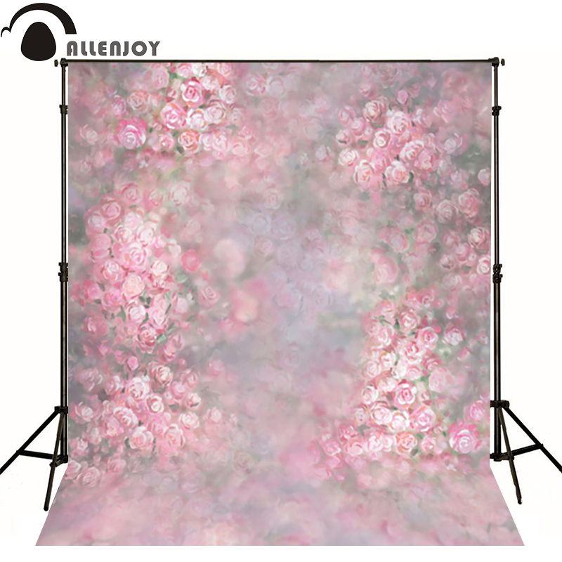 Allenjoy photography backdrops Romantic pink flower blur bokeh photo background newborn baby photocall lovely photo studio
