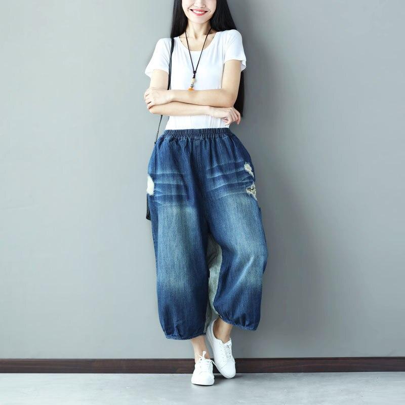Mujer De La Pantalon Pierna Vaqueros Pantalones Longitud Jean Nuevo Cintura  Vaquero Caliente 1 Ancho Otoño Elástico Plus Denim 2019 Sueltos ... 3283eb339b97