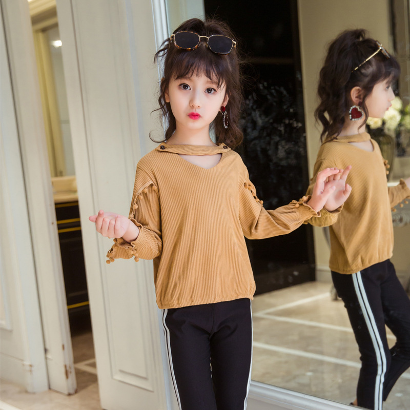 Children's Garment Girl Suit Spring And Autumn New Pattern Korean Children Long Sweater Two Pieces Child Suit Kids Clothing Sets купить дешево онлайн