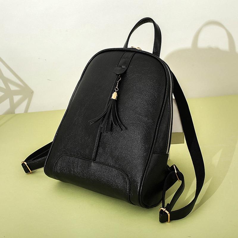 Backpack Women Daily Mochila Feminina Faux Leather Teenagers Girls Tassel School Bag Casual Lady Preppy Style