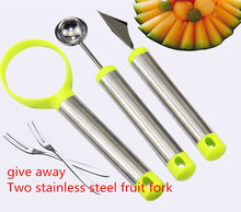 Three-piece sets of stainless steel fruit digging machine watermelon dig ball spoon carved knife