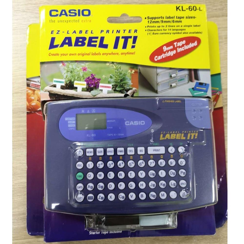 Oryginalny KL 60 L KL 60L przenośny angielski maszyna do etykietowania, garnitur dla 6/9/12mm casio laminowane taśmy etykiet XR 12WE XR 9WE XR 12YW w Taśmy do drukarek od Komputer i biuro na AliExpress - 11.11_Double 11Singles' Day 1