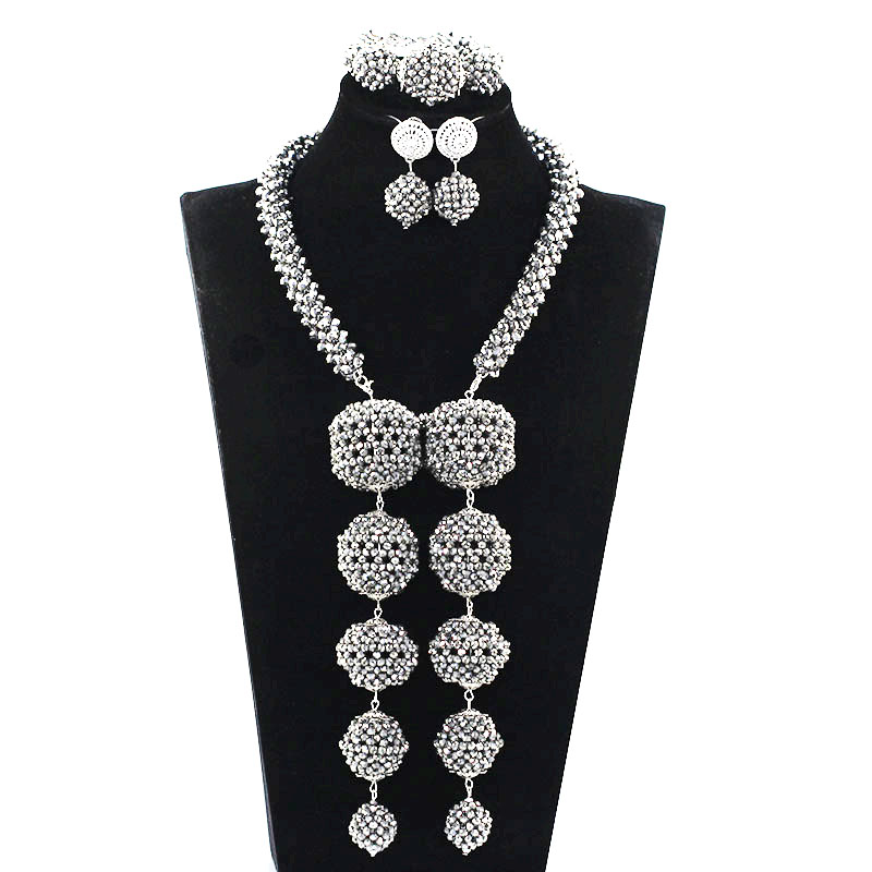 2017 Crystal Pendant Bridal Statement Necklace Set Traditional Wedding African Silver Beads Jewelry Set Women Jewellery ABH532