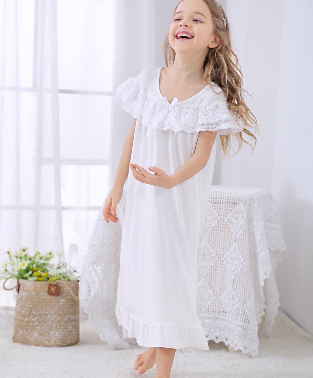 meninas princesa noite vestido para meninas algodão