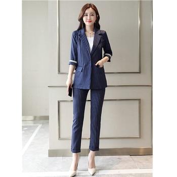 Women's suit women's fashion striped suit two-piece suit (jacket + pants) women's slim party formal dress