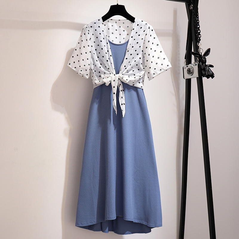Plus Size Holiday Wind Boho Dress Set Women Summer Sexy Suspender Vest Dress + Chiffon Dot Printing Cardigan Two piece Sets