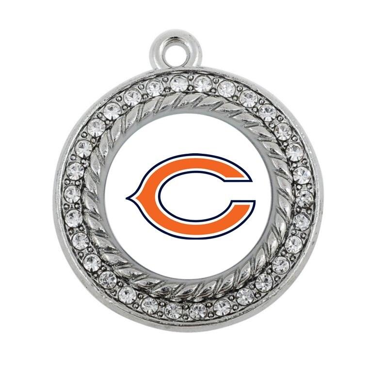 Футбол гордость Chicago Bears круглый или квадратной Шарм антикварные серебряные позолоченные украшения