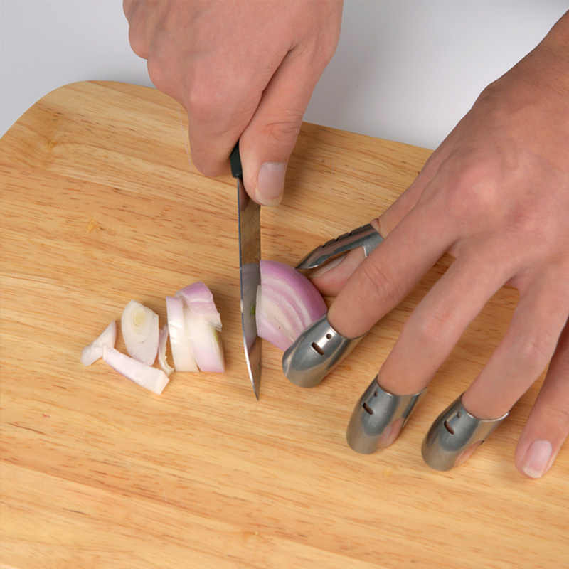 4 Pcs Finger Guard ปกป้อง Hand Anti ตัด Protector มีดตัดนิ้วมือเครื่องมือสแตนเลสเกราะเครื่องมือครัว Gadget