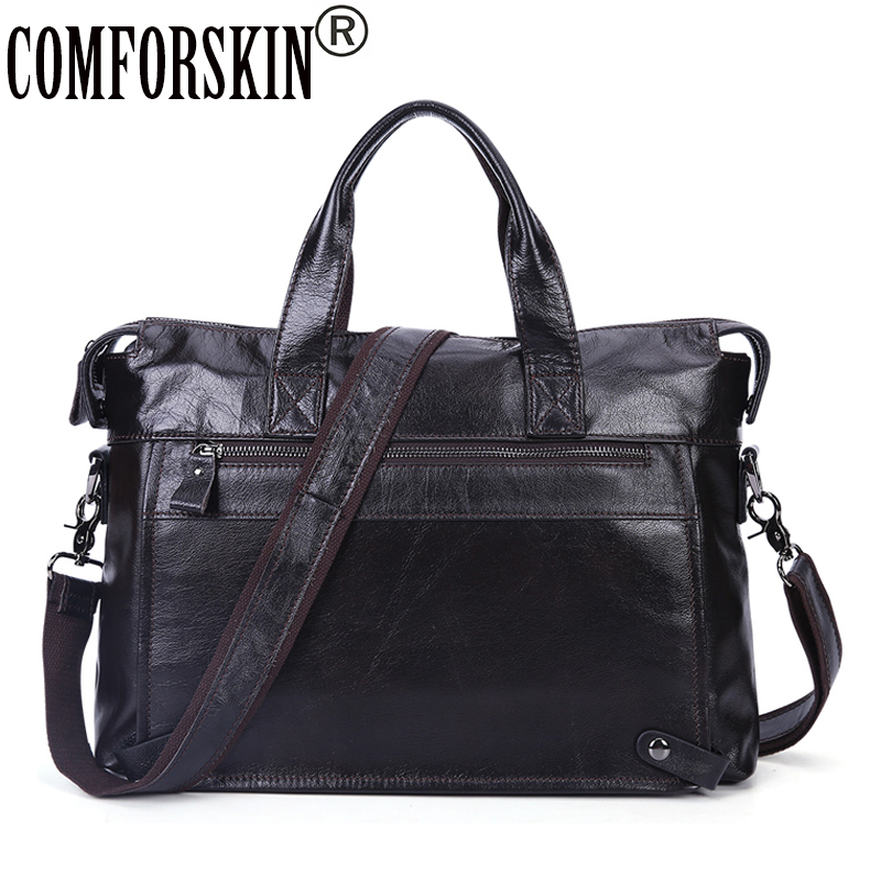 COMFORSKIN Business Men Briefcase Genuine Leather 100% Guaranteed New Arrivals Large Capacity  Men Handbags & Crossbody Bags