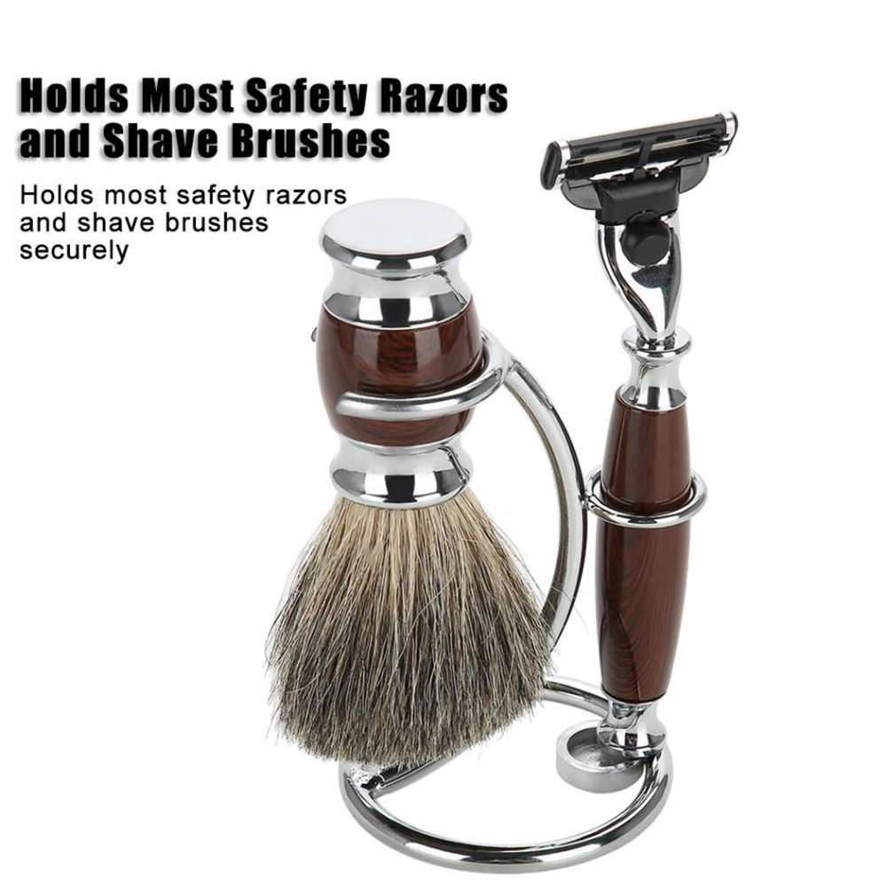 Men Shaving Tool Holder 2 In 1 Silver Compact Stainless Steel Curved Shaving Brush Manual Razor Stand Holders Portable Stand