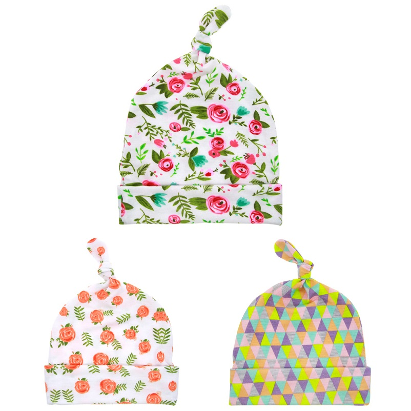 Moeble Baby Top Knot Hat Newborn Knotted Hat in Floral Print Toddler girls Shower Gift Baby Accessories Cotton beanie 1pc H003 0cm in diameter large space baby hand footed printing mud set newborn baby hand and foot print hundred days old gift souvenir
