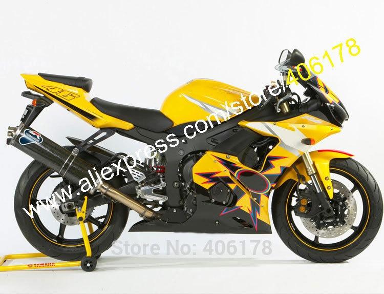 Hot Sales,Yellow YZFR6 Fairing Kit for Yamaha YZF R6 YZF-R6 2005 YZF 600 R6 YZF R6 05 Cheap ABS fairing set (Injection molding)