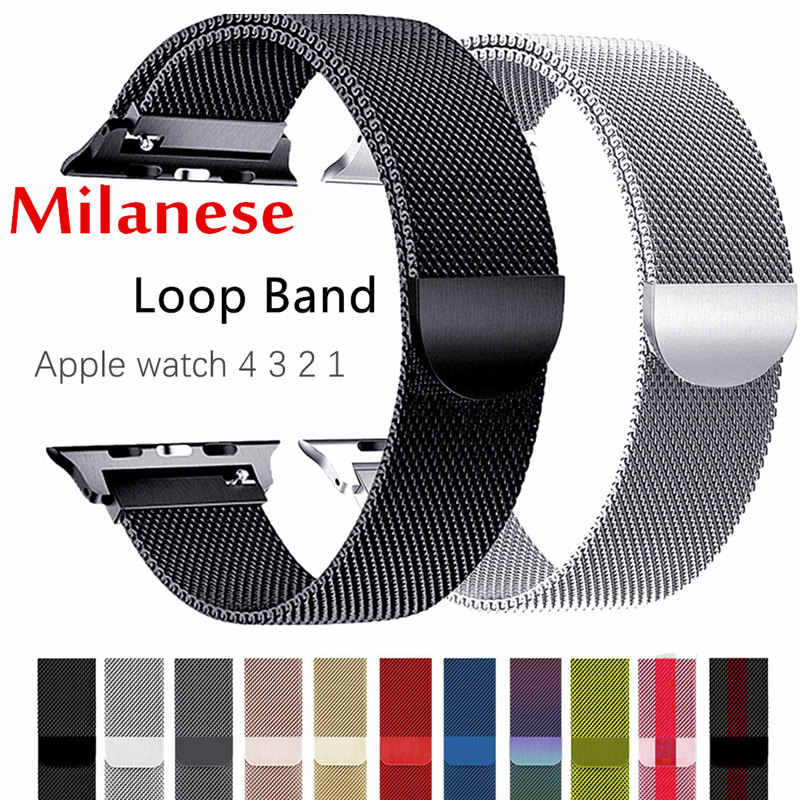 Correa Milanese Loop para Apple Watch Correa 44mm 40mm iWatch banda 42mm 38 mm pulsera de acero inoxidable Apple watch 5 4 3 2