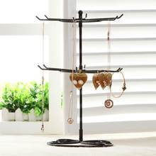 2-Tier Rotary Anting-Anting Rak Perhiasan Organizer Pemegang Display Stand Logam Perhiasan Display Stand Menampilkan Rak untuk Kalung Anting-Anting(China)