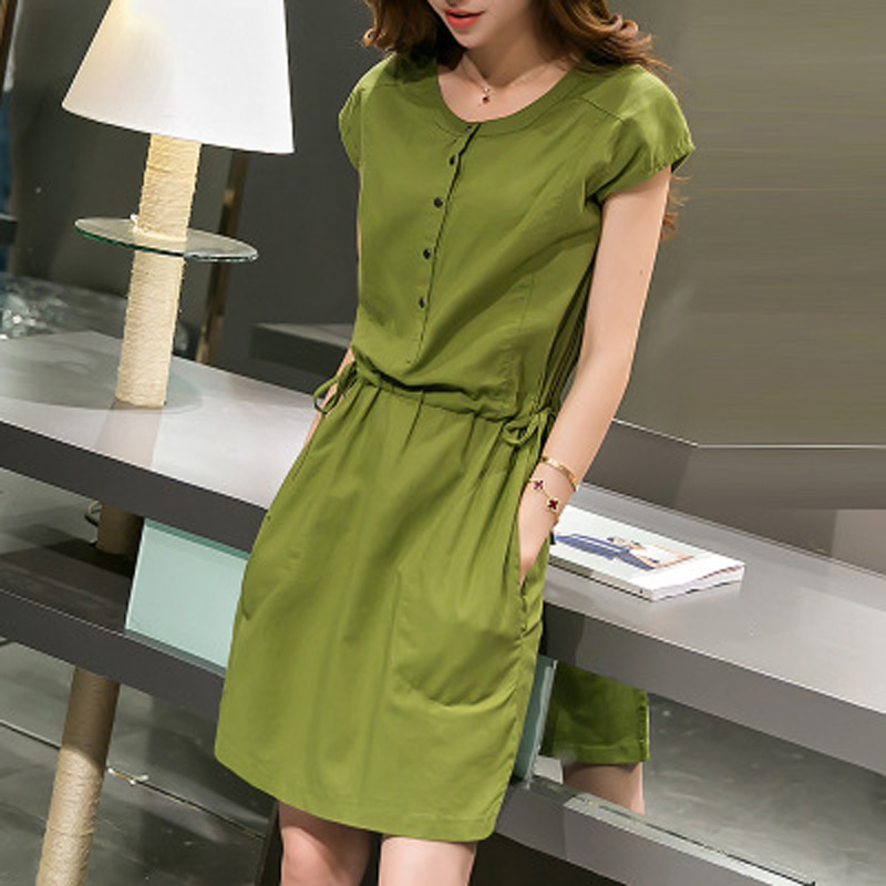 Plus Size Women Clothing 2016 Summer Women Dress Short Sleeved Casual Loose Vestidos O-Neck Cotton Linen Vintage Dresses FB2026