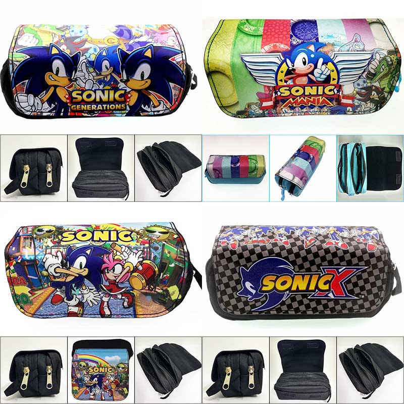 Anime Sonic Leather Canvas Pencil Bags Cute Cartoon Double Zipper Organizer Purse Student Stationery Cosmetic Bags Cases Gifts
