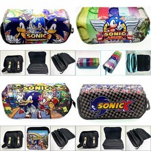 Organizer Purse Cases Pencil-Bags Canvas Sonic Cute Anime Cartoon Stationery Gifts Double-Zipper