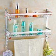 40/50CM 2 Tier Space Aluminum Thick Widened Bathroom Shelf Racks Basket Storage Shelves with Towel Bar Hooks 809117