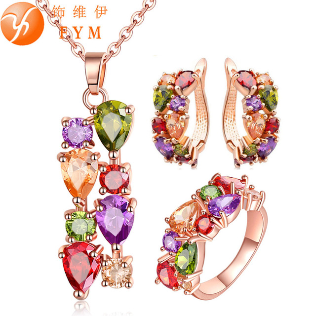 FYM Rose Gold Color Jewelry Sets for Women Mona Lisa Colorful