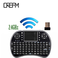 Última árabe español ruso heberw i8 mini teclado 2.4 ghz fly mouse con el touchpad para android/google tv box tabalet laptop