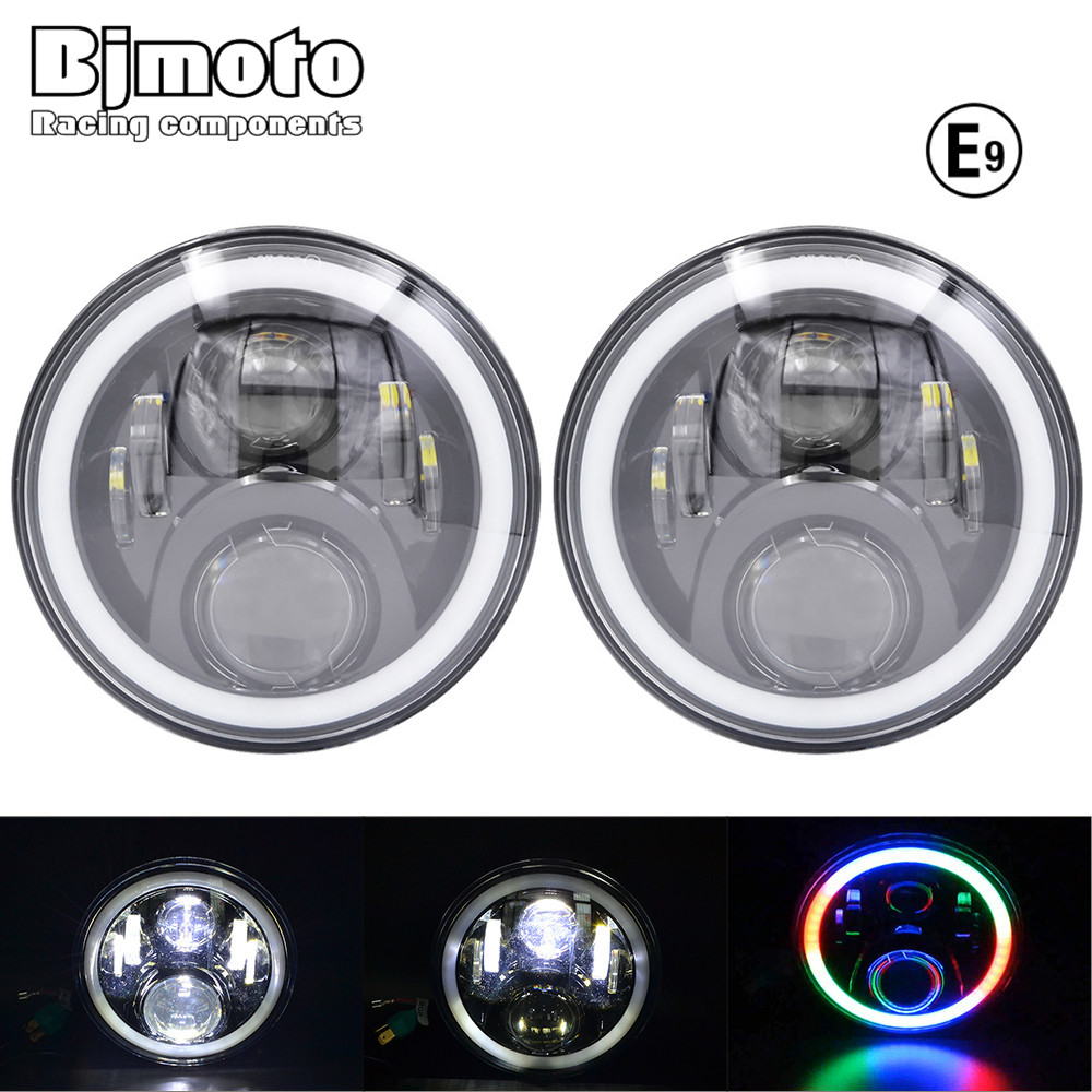 Pair 7 LED headlight RGB Lighting without App hi/lo Beam Headlights  Angel Eye For Jeep Wrangler Land Rover Defender Hummer 1 pair 7 inch 78w cree chips h4 hi lo led headlight lamp angel eye drl bulb for jeep wrangler offroad