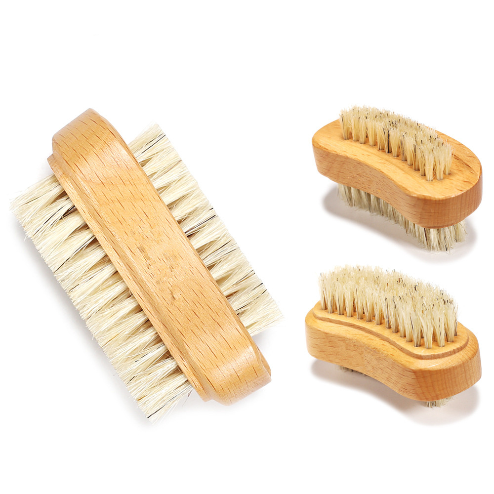 Double Sided Natural Bristle Nail Brush Manicure Pedicure Wooden Handle Soft Remove Dust Nail Cleaning Tools Brush For Nail Care