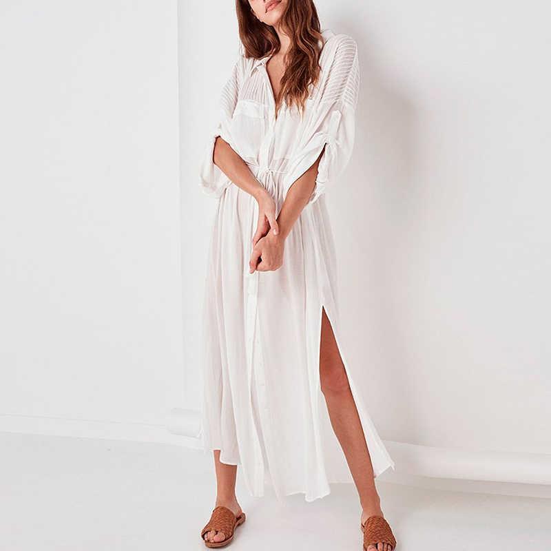 545bc24004 ... Bikinx Tassel white beach dress women cover-ups Long kaftan beach robe  button sexy sarong ...