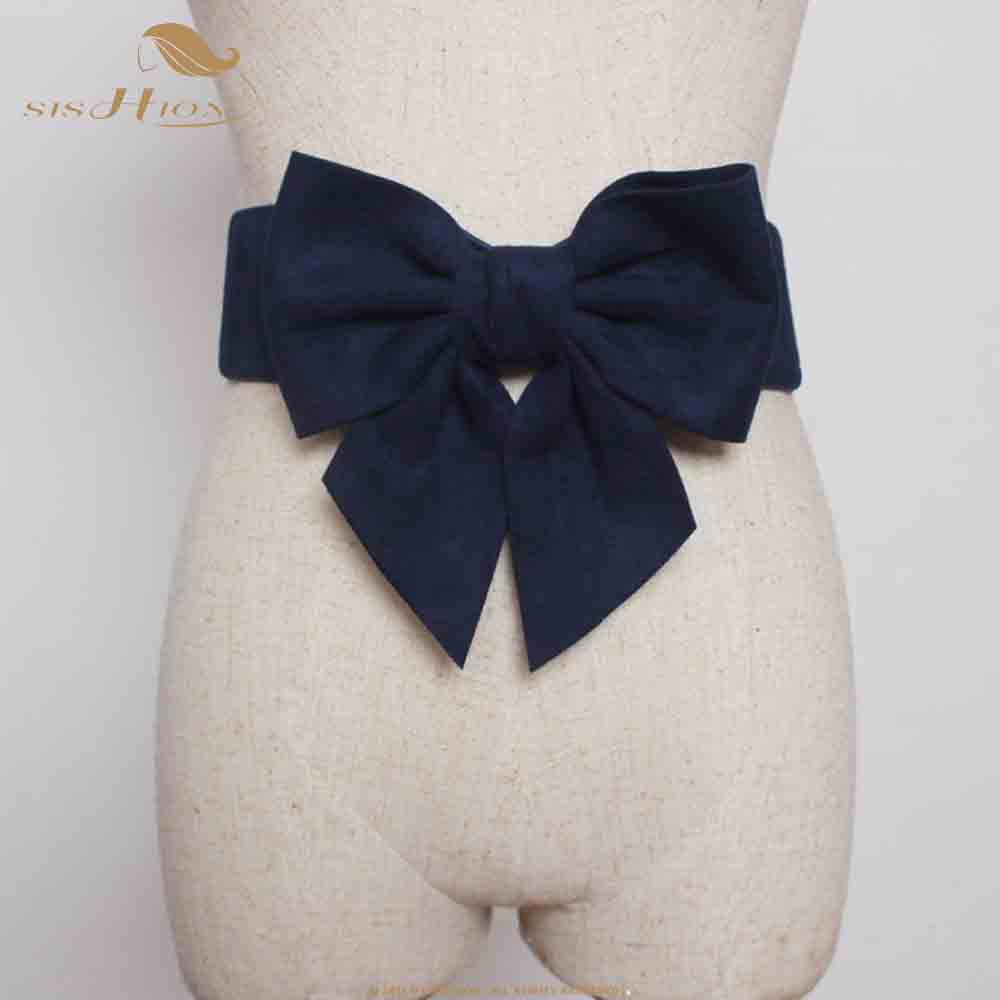 SISHION Elastic Waistband For Dress Accessories VB0043 Women Navy Blue Red Black Wide Corset Korean Belt With Big Bow