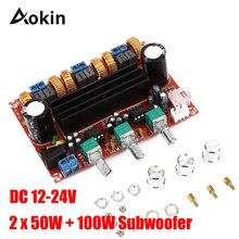 TPA3116 2.1 dijital ses amplifikatörü kurulu XH HM139 TPA3116D2 Subwoofer hoparlör güç amplifikatörleri DC12V 24V 2*50W Subwoofer 100W