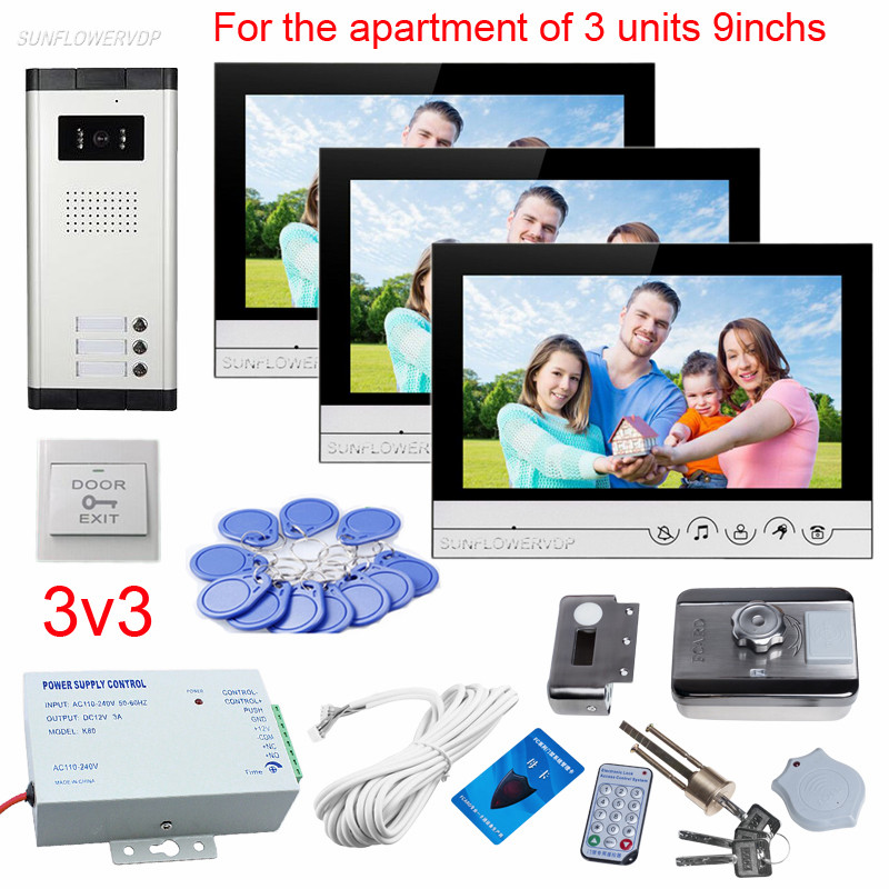 9 дюйм(ов) Цвет видео-телефон двери Дверные звонки для 3 квартиры видеодомофоны с rfid-карты электронный дверной замок видеовызова единиц