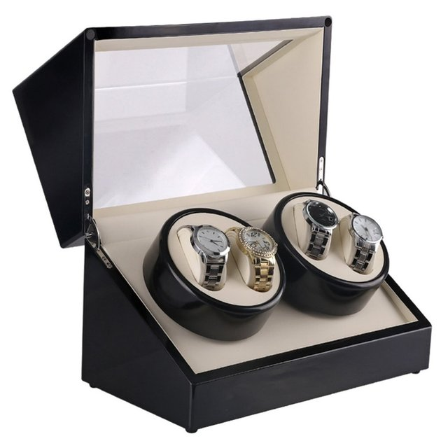 4 ranuras Auto ver caso devanadera reloj de madera caja de reloj bobinadora laca rotar Motor Slient pantalla reloj bobinador