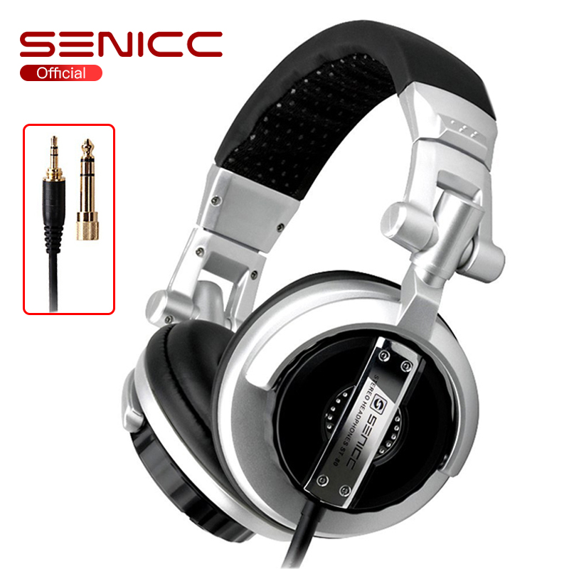 SENICC ST-80 Professional Stereo Studio Monitor Headphone 3.5mm 6.3mm Jack DJ Headphone 2.5m Extension Cord Gamer Headset for DJ image