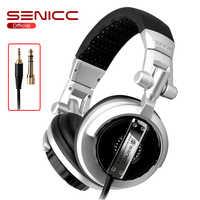 SENICC ST-80 Professionale Stereo Studio Monitor Cuffie da 3.5mm 6.3 millimetri Martinetti del DJ Della Cuffia 2.5m di Cavo di Prolunga Gamer Auricolare per DJ