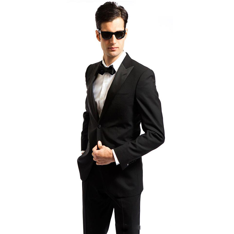 (Coat+Pants)2019 New Custom Slim Fit Smoking Casamento Mens Formal Black Wedding Suits Tuxedo 2 Pieces Costume Homme Mariage