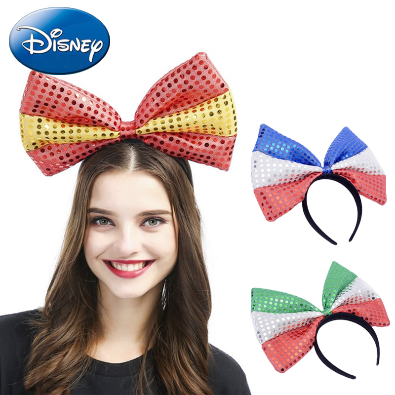 Disney Minnie Mouse Sequin Ears-headdress Travel Headwear Hair Accessories 2019 Kids Girl Women Party Bow-hairband Toys Gift Toys & Hobbies Clothing & Accessories For Plush Stuff