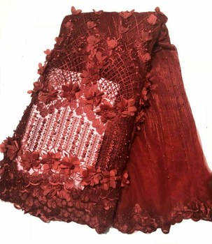 Hot Sales red lace fabric with beads 3d embroidery tulle lace fabric fashion french net lace fabric for dress fhd412
