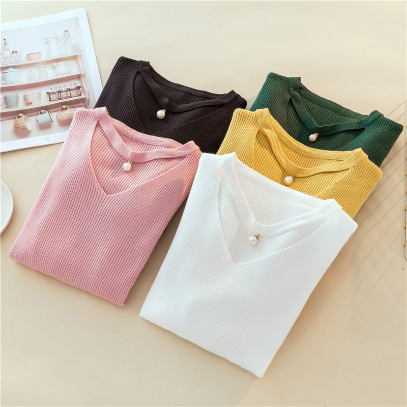 Sexy Hollow-out V-Neck Pink Pullover Sweet Pearl Pendant Long Sleeve Jumper Pull Femme Korean Slim Knitted Sweater For Women