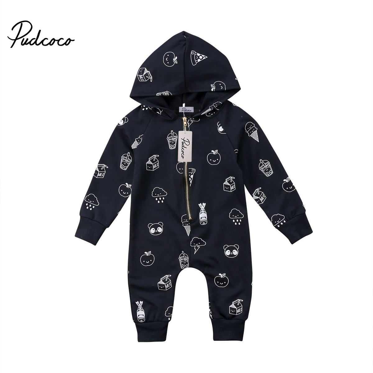 New Pudococo Baby Boys Girls Infant Romper Ice Cream Print Hooded Spring Autumn Jumpsuit Clothes Long Sleeve Zipper Romper 2018