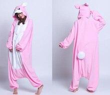 Lovely Rabbit Cosplay Costume Onesies Pajamas Christmas Pizamie Cartoon Animal One Piece Jumpsuit Adult Winter Pyjamas for Women