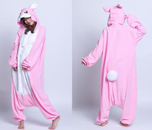 White Fur in front chest Adult Winter Lovely Rabbit Cosplay Costume Onesie Pajamas for Xmas Cartoon